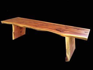 natural edge Red Cedar wood bench Evan Wittels