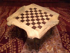Live edge magnolia walnut wood chessboard coffee table Evan Wittels