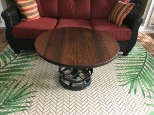 Walnut wood coffee table metal machinery base unique Evan Wittels