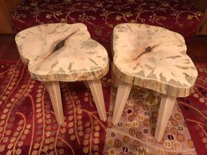Maple wood slice end tables Evan Wittels