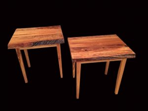 River-recovered Heart Pine wood end tables Evan Wittels