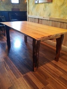 River-recovered Heart Pine dining table Evan Wittels