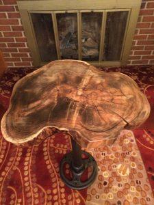 Red Maple wood bar height table metal tractor wheel hub Evan Wittels