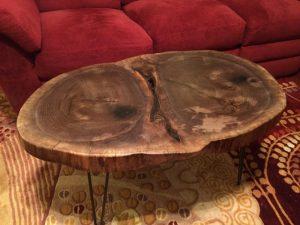 Walnut wood coffee table metal pin legs Evan Wittels